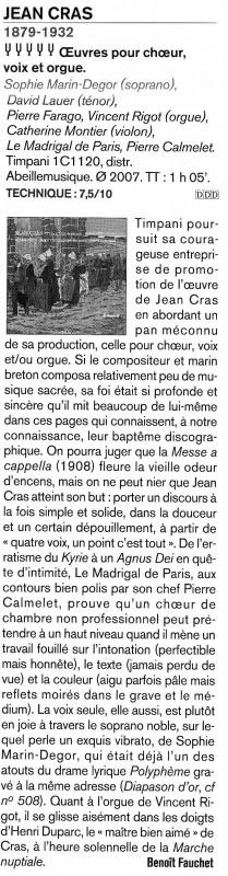 Article paru dans Diapason relatif à enregistrement Jean Cras